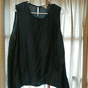 Jean sleeveless blouse